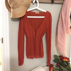 Anthropologie Moth burnt orange cardigan